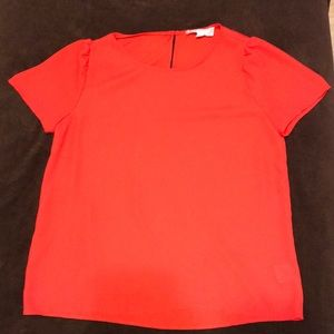 Small polyester red top